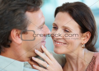 Romantic man and woman looking affectionately at each other