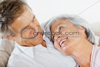 Closeup of a senior couple looking at eachother