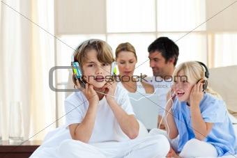 Animated children having fun and listening music