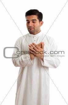 Worried stressed sad arab man