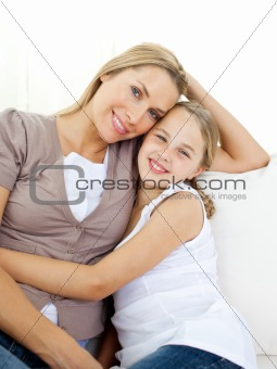 Portrait of an attentive mother and her daughter