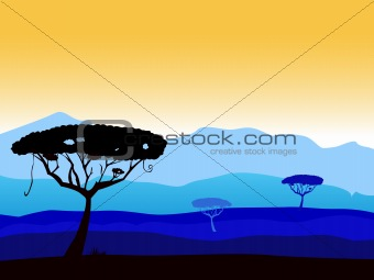 African safari background with tree silhouette