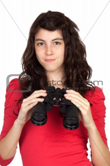 Adorable teen girl with binoculars