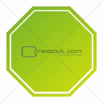 Blank green hexagonal sign