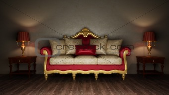 Classical sofa and two desk lamps