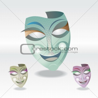 three color Carnival Mask