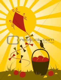 kite, fruit and sun