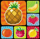 Colorful fruity icons set