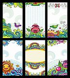 Colorful floral cards set
