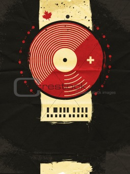abstract grunge musical poster with vinyl circle