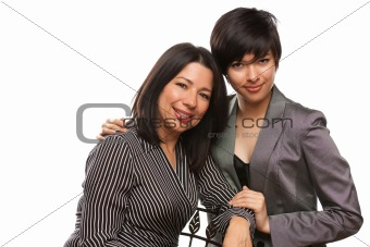 Attractive Multiethnic Mother and Daughter Portrait Isolated on a White Background.