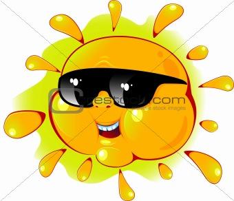 Cartoon sun in a sunglasses