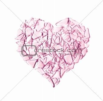 Broken glass heart