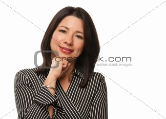 Attractive Multiethnic Woman Resting Her Chin on Her Hand Isolated on a White Background.