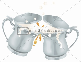 Oktoberfest Ale Beer Mug Tankards Toasting Illustration