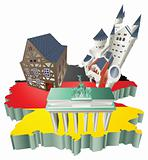 Illustration German tourist attractions in Germany