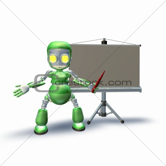A cute 3d robot character giving presentation