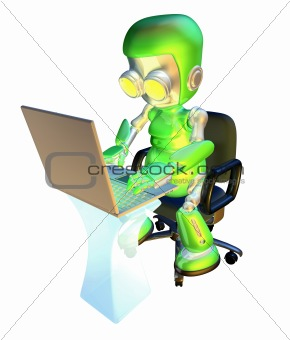 3d cute green robot character using laptop pc