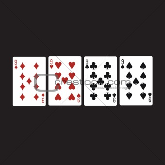 Four nine, variegated cards .Vector illustration