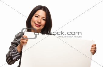 Attractive Multiethnic Woman Holding Blank White Sign Isolated on a White Background.