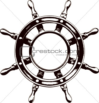Ship steering wheel  (vector)
