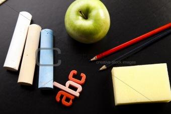 Apple on a chalkboard - healthy breakfast at school