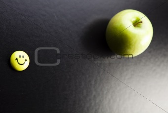 Apple on a chalkboard - healthy breakfast at school