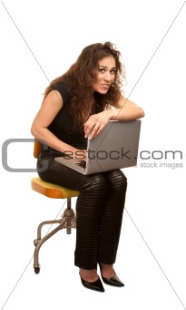 Pretty Woman with computer