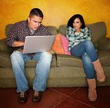 Hispanic Couple with Computer
