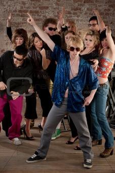 Disco dancing pose