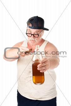Fat man with cigar and bottle of beer