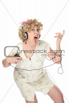 Funny woman in nightgown listening to music