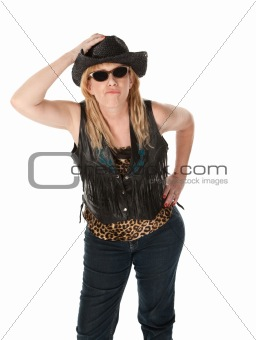 Tough woman with black cowboy hat