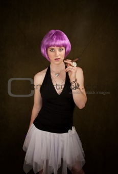 Woman with Purple Hair and Cigar