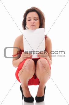 Sexy woman with blank doc.