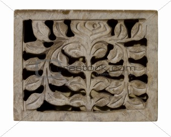Carved decorative pale stone panel