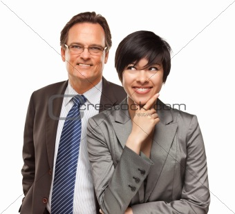 Attractive Businesswoman and Businessman Isolated on a White Background.
