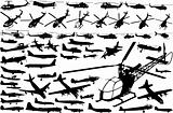 collection of helicopters and airplanes (vector)