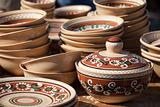 Decorated ceramic pot and pottery collection at the handicraft market