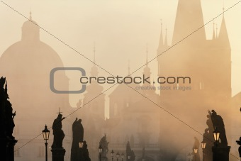 czech republic prague - charles bridge on foggy morning
