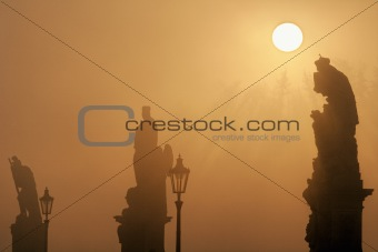 czech republic prague - charles bridge on foggy morning