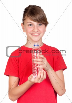 Adorable preteen girl with bottled water