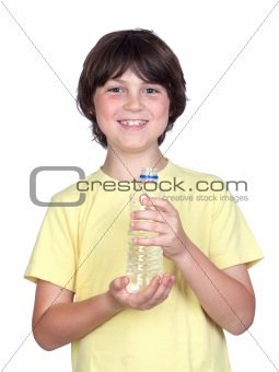 Adorable child with bottled water