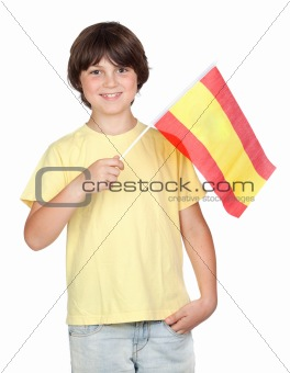 Freckled boy with spanish flag
