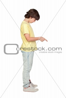 Boy with yellow shirt giving an order