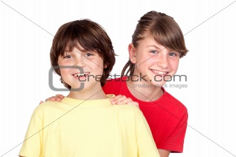 Adorable preteen girl and little boy