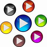 Set play buttons. Vector Illustration