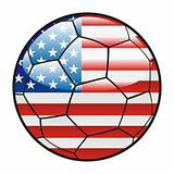 flag of America on soccer ball