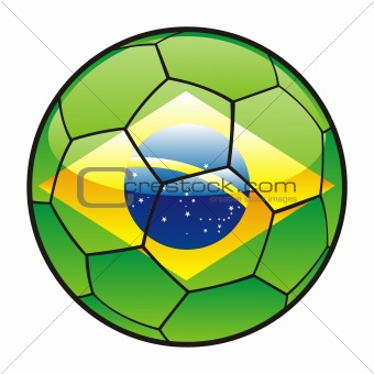 flag of Brazil on soccer ball