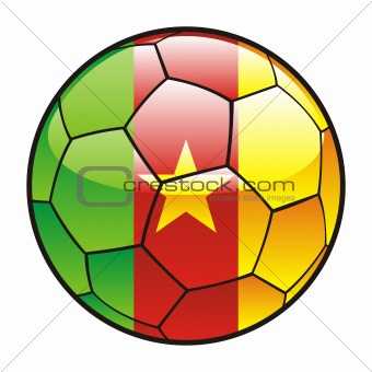 flag of Cameroon on soccer ball